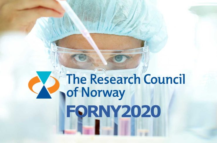 Scientist doing a test. The Research Council of Norway logo in front.