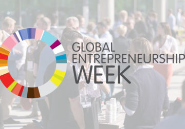 Diffuse picture of people talking, with the GEW-logo on top.