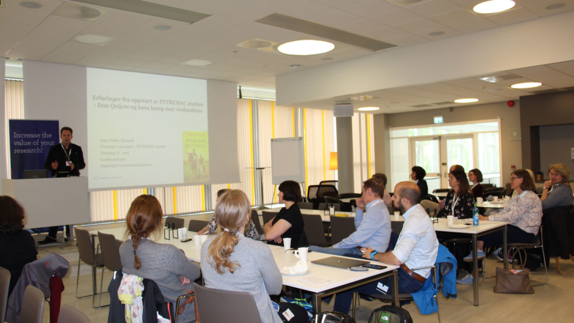 """Dr. Med. Consultant, Hans Eikesdal, held a great presentation about experiences from a study established by a research group at the oncology department, the title was: """"Don Quijote and his fight against windmills""""."""