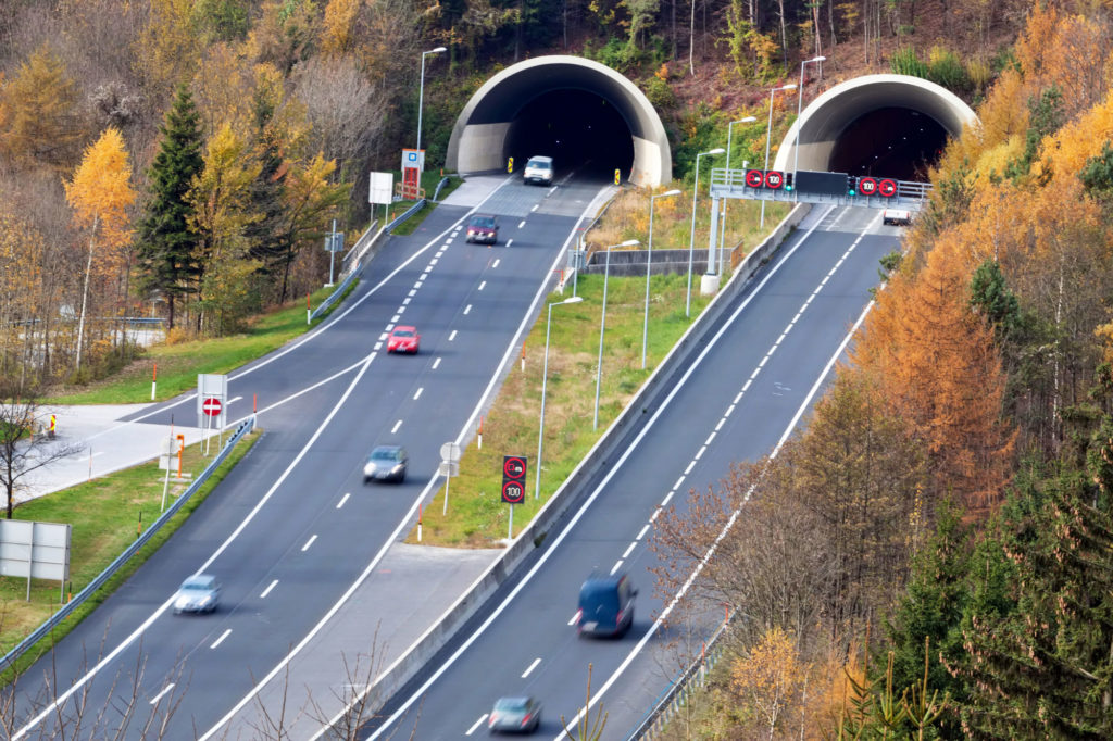 Tunnel opening and road.
