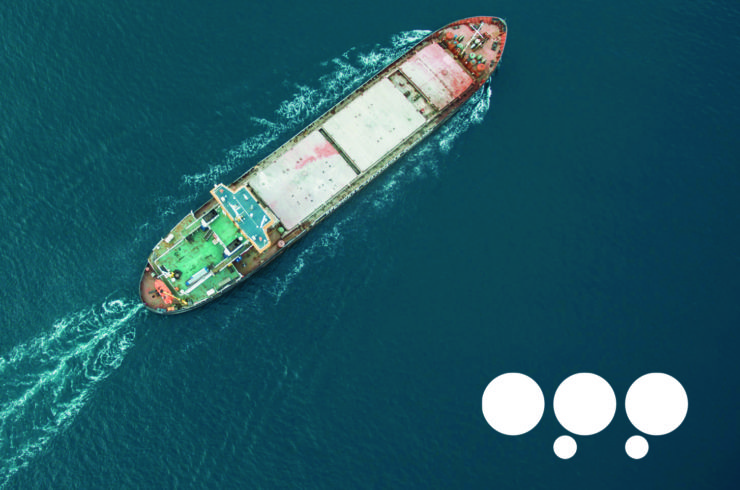 Ship sailing seen from above with the logo for OPP.