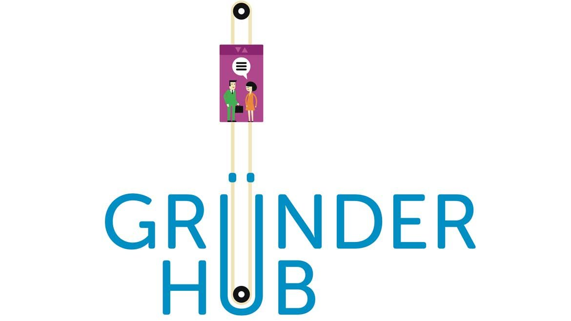 Picture of Gründerhub-logo. Caricatures standing in a elevator on top of the logo.