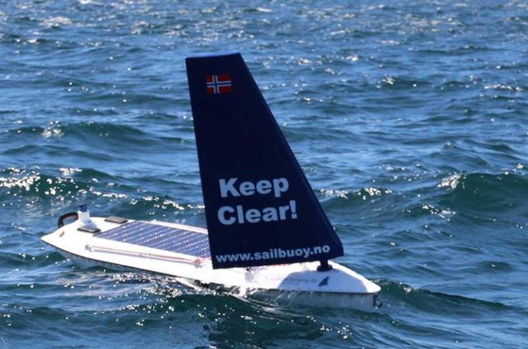 The SailBuoy is a small unmanned boat.
