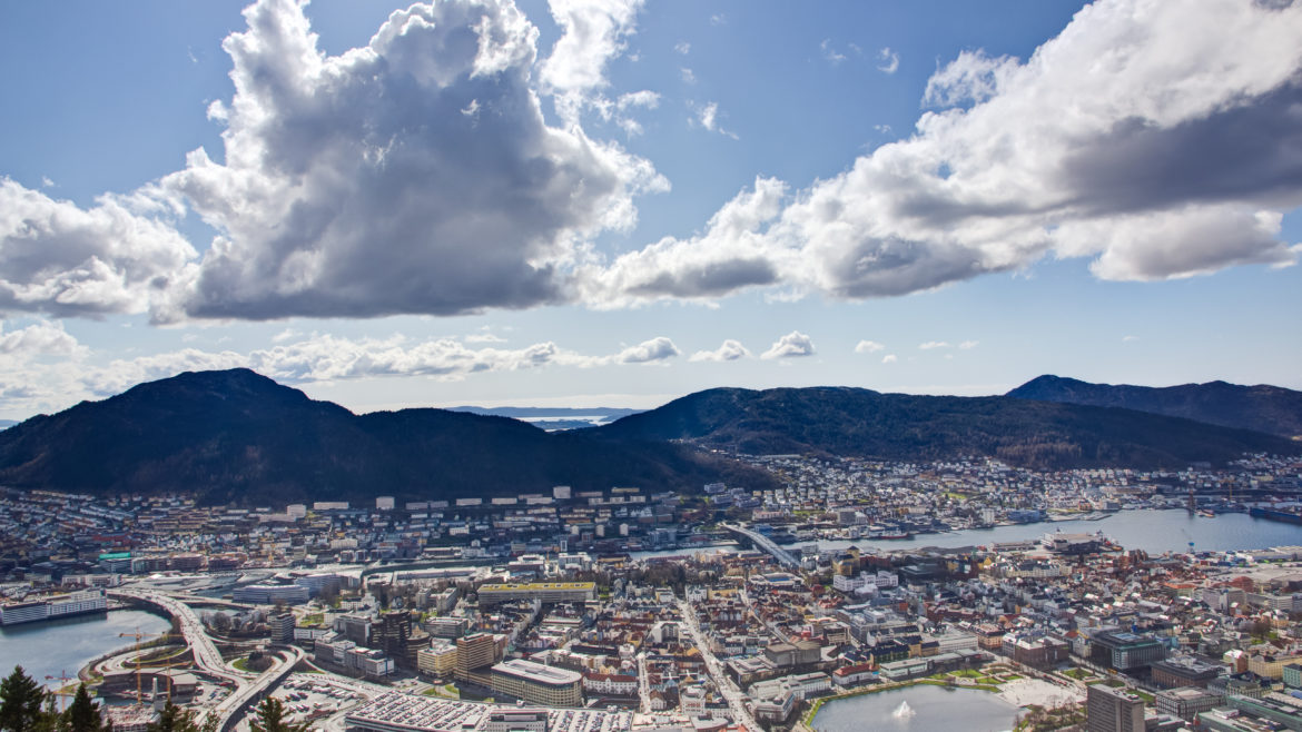 View over Bergen taken from the popular landmark Fløyen.